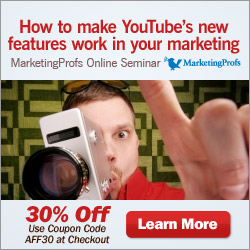 YouTube is a great promotional medium, with low-cost entry and high potential rewards. MarketingProfs Seminar about the New YouTube Features explains an effective way for any size business to reach both new and existing customers.
