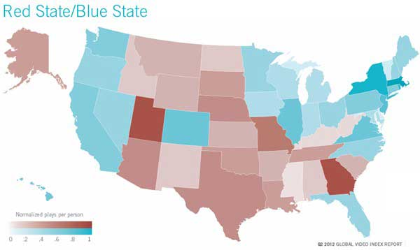 Map - Red State/Blue State Online Video Views